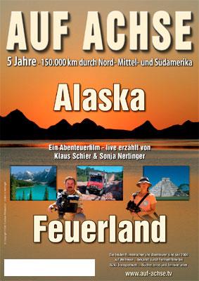 """Plakat Vortrag/Film """"Alaska - Feuerland"""" - auf-achse.tv"""