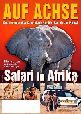 """Plakat Vortrag/Film """"Safari in Afrika"""" - auf-achse.tv"""