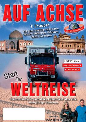 """Plakat Vortrag/Film """"Auf dem Landweg nach Indien"""" - auf-achse.tv"""
