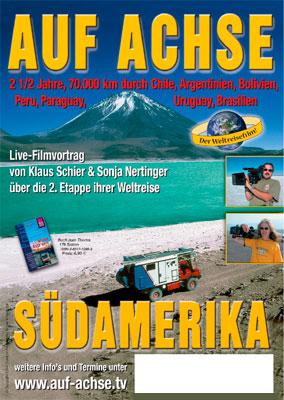 """Plakat Vortrag/Film """"Südamerika"""" - auf-achse.tv"""