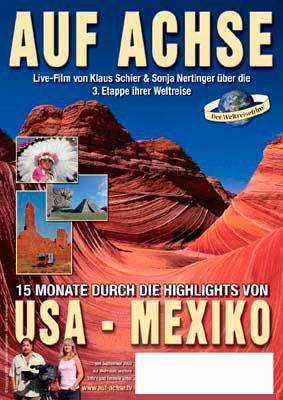 """Plakat Vortrag/Film """"USA - Mexiko"""" - auf-achse.tv"""