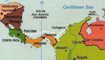 Landkarte Costa Rica und Panama