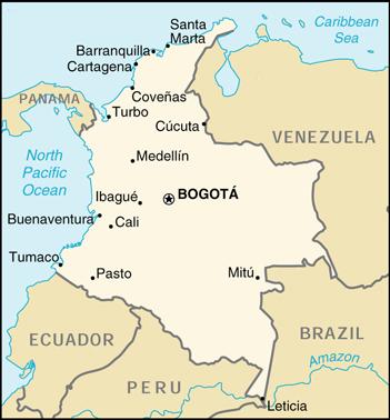 Landkarte Kolumbien