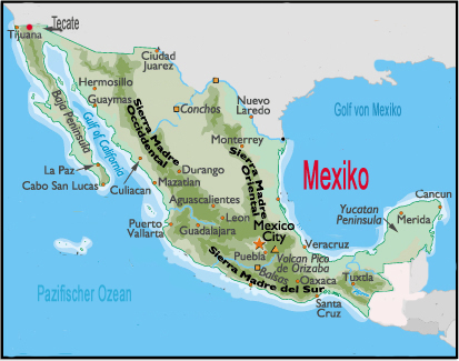 Landkarte Mexiko