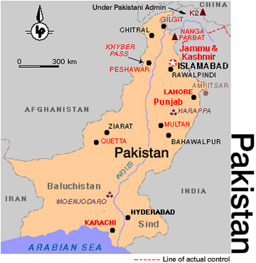 Landkarte Pakistan