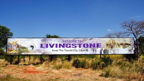 Weltreise Etappe Afrika - Schild Livingstone