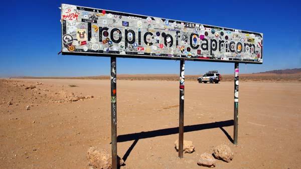 Weltreise Etappe Afrika - Tropic of Capricom Schild